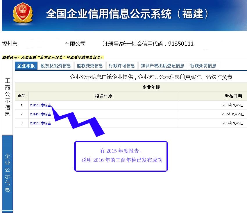2016福建工商年检